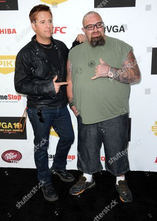 """Allen Lee Haff, left, and Clinton """"Ton"""" Jones arrive at Spike's 10th Annual Video Game Awards at Sony Studios, in Culver City, Calif"""