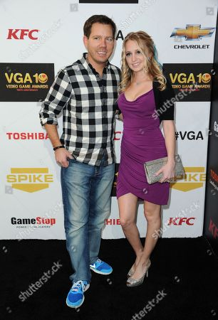 Stock Photo of Cliff Bleszinski, left, and Lauren Berggren arrive at Spike's 10th Annual Video Game Awards at Sony Studios, in Culver City, Calif