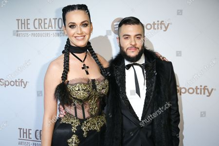 Katy Perry, left, and Ferras arrive at Spotify Presents The Creators Party at Cicada, in Los Angeles