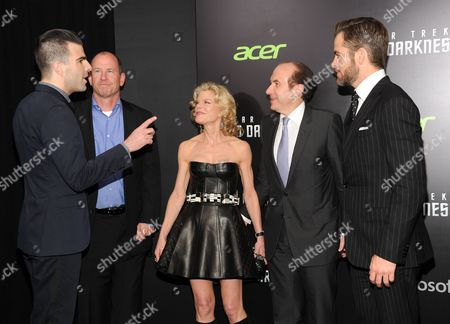 """Zachary Quinto, left, Vice Chairman of Paramount Pictures Rob Moore, Deborah Dauman, Viacom President and CEO Philippe Dauman and actor Chris Pine attend the """"Star Trek Into Darkness"""" premiere at AMC Loews Lincoln Square on in New York"""