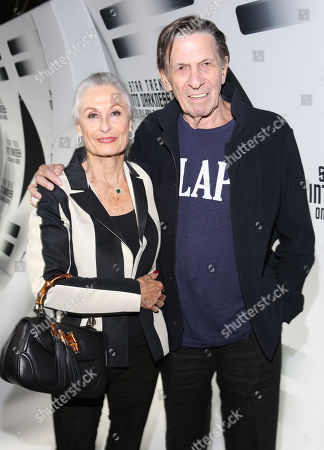 """Susan Bay, left, and Leonard Nimoy arrive to the home entertainment launch party of the worldwide blockbuster """"Star Trek Into Darkness"""" on at the California Science Center in Los Angeles"""