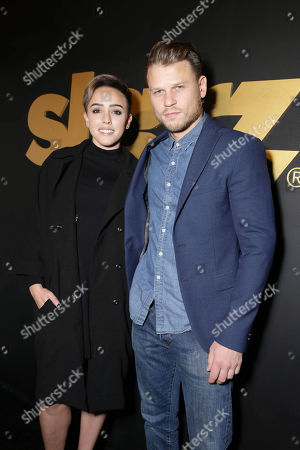 Raychel Diane Weiner and Aaron Schwartz seen at Starz Pre- Golden Globes Celebration at Chateau Marmont, in Los Angeles, CA