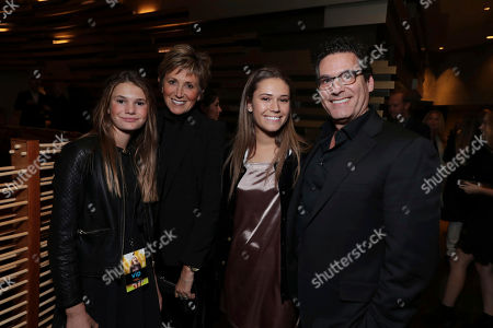 "Katie Locke Aviv, Oren Aviv, President and Chief Content Officer for Motion Picture Group, STX Entertainment, and daughters seen at STX Entertainment Special Screening of ""The Edge of Seventeen"" after party at WP24, in Los Angeles"