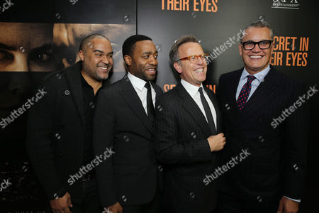 Producer Matt Jackson, Chiwetel Ejiofor, Producer Mark Johnson and Stuart Ford, Founder & Chief Executive Officer of IM Global, seen at STX Entertainment's 'Secret In Their Eyes' Premiere at Hammer Museum, in Los Angeles, CA