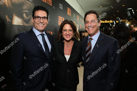 Oren Aviv, President and Chief Content Officer, Motion Picture Group at STX Entertainment, Cathy Schulman, President of Production at STX Entertainment, and Adam Fogelson, Chairman, Motion Picture Group at STX Entertainment, seen at STX Entertainment's 'Secret In Their Eyes' Premiere at Hammer Museum, in Los Angeles, CA