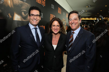 Oren Aviv, President and Chief Content Officer, Motion Picture Group at STX Entertainment, Cathy Schulman, President of Production at STX Entertainment, and Adam Fogelson, Chairman, Motion Picture Group at STX Entertainment, seen at STX Entertainmentâ?™s 'Secret In Their Eyes' Premiere at Hammer Museum, in Los Angeles, CA