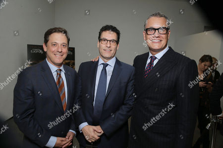 Adam Fogelson, Chairman, Motion Picture Group at STX Entertainment, Oren Aviv, President and Chief Content Officer, Motion Picture Group at STX Entertainment, and Stuart Ford, Founder & Chief Executive Officer of IM Global, seen at STX Entertainmentâ?™s 'Secret In Their Eyes' Premiere at Hammer Museum, in Los Angeles, CA