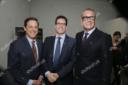 Stock Image of Adam Fogelson, Chairman, Motion Picture Group at STX Entertainment, Oren Aviv, President and Chief Content Officer, Motion Picture Group at STX Entertainment, and Stuart Ford, Founder & Chief Executive Officer of IM Global, seen at STX Entertainment's 'Secret In Their Eyes' Premiere at Hammer Museum, in Los Angeles, CA