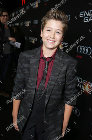 Garrett Ryan seen at Summit Entertainment's Los Angeles Premiere of 'Ender's Game', on Monday, Oct, 28, 2013 in Los Angeles
