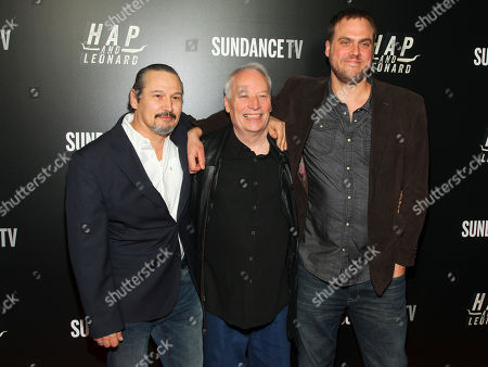 """Stock Picture of Nick Damici, from left, Joe R. Lansdale and Jim Mickle attend the premiere party for Sundance TV's originally scripted series, """"Hap and Leonard"""", at Hill Country, in New York"""