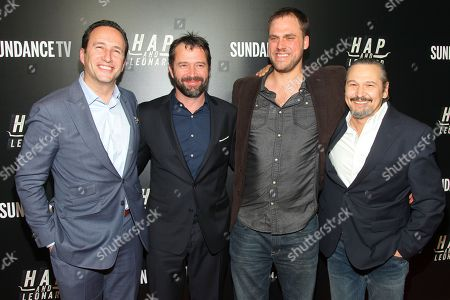 """Charlie Collier, from left, James Purefoy, Jim Mickle and Nick Damici attend the premiere party for Sundance TV's originally scripted series, """"Hap and Leonard"""", at Hill Country, in New York"""
