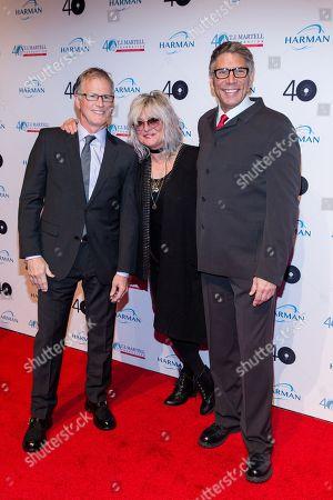 Alan Hunter, left, Nina Blackwood, and Mark Goodman attend the T.J Martell Foundation 40th Anniversary Honors Gala, in New York