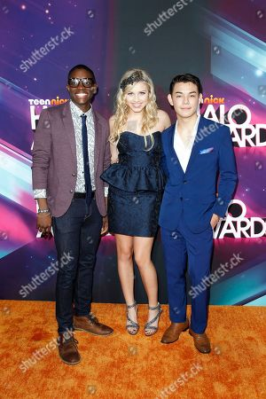 Stock Picture of Actors Carlos Knight, Gracie Dzienny and Ryan Potter arrive at the TeenNick HALO Awards at the Hollywood Palladium, in Los Angeles
