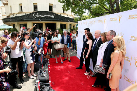 """From left, Robert James-Collier, Sophie McShera, Julian Fellowes, Phyllis Logan, Gareth Neame, and Joanne Froggatt pose together at An Afternoon with """"Downton Abbey"""" presented by the Television Academy at Paramount Studios, in Los Angeles"""