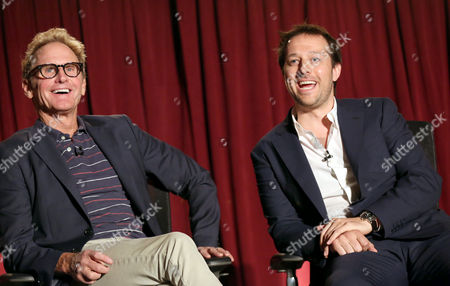 """Jere Burns, left, and Dave Andron, participate in a panel at """"An Evening with Justified,"""", at the Television Academy in the NoHo Arts District in Los Angeles"""
