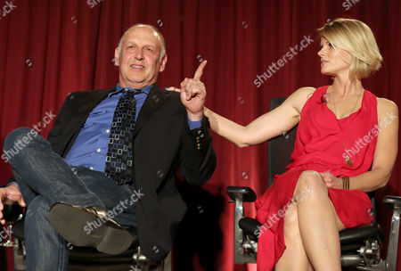 """Nick Searcy, left, and Joelle Carter participate in a panel at """"An Evening with Justified,"""", at the Television Academy in the NoHo Arts District in Los Angeles"""