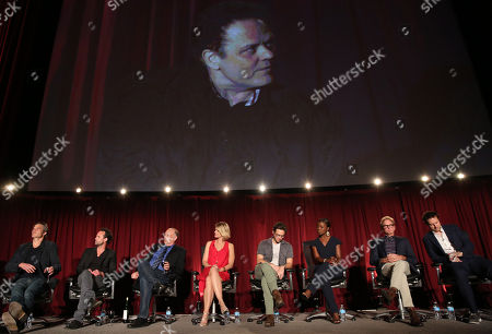 """Timothy Olyphant, and from left, Walton Goggins, Nick Searcy, Joelle Carter, Jacob Pitts, Erica Tazel, Jere Burns, and Dave Andron participate in a panel at """"An Evening with Justified,"""", at the Television Academy in the NoHo Arts District in Los Angeles"""