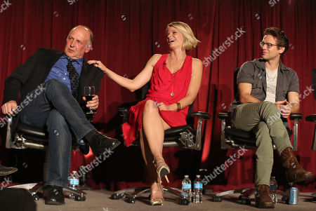 """Nick Searcy, and from left Joelle Carter, Jacob Pitts participate in a panel at """"An Evening with Justified,"""", at the Television Academy in the NoHo Arts District in Los Angeles"""