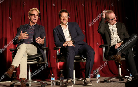 """Jere Burns, and from left, Dave Andron, and Fred Golan participate in a panel at """"An Evening with Justified,"""", at the Television Academy in the NoHo Arts District in Los Angeles"""