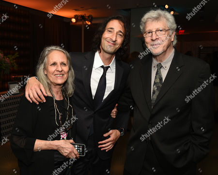 Sylvia Plachy, from left, Adrien Brody and Elliot Brody attend the Television Academy's 67th Emmy Awards Performers Nominee Reception at the Pacific Design Center on Saturday, Sept.19, 2015, in West Hollywood, Calif