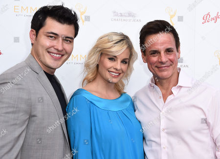 Christopher Sean, and from left, Jessica Collins and Christian LeBlanc arrive at the Television Academy's 67th Emmy Performance Peer Group Celebration at the Montage Beverly Hills on in Beverly Hills, Calif