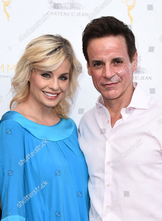 Jessica Collins, left, and Christian LeBlanc arrive at the Television Academy's 67th Emmy Performance Peer Group Celebration at the Montage Beverly Hills on in Beverly Hills, Calif