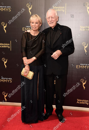 Catherine von Sydow, left, and Max von Sydow arrive at night one of the Television Academy's 2016 Creative Arts Emmy Awards at the Microsoft Theater on in Los Angeles