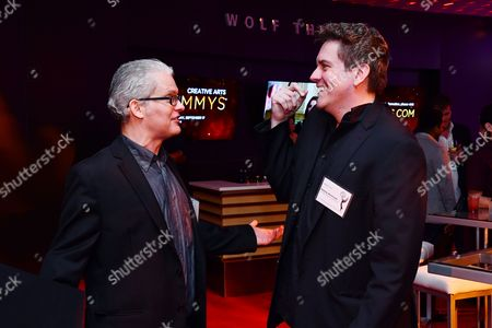 Stock Image of Dan O'Keefe and Jesse Joyce are seen at the Television Academy's 2016 Emmy Awards Writer's Nominee Reception at The Television Academy's Wolf Theatre on in North Hollywood, California