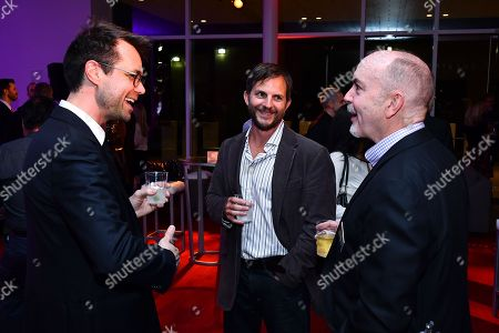 David Holmes, Adam Lorenzo and Terence Winter are seen at the Television Academy's 2016 Emmy Awards Writer's Nominee Reception at The Television Academy's Wolf Theatre on in North Hollywood, California