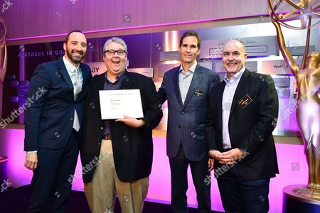 Tony Hale, David Mandel, Chip Johannessen, Terence Winter are seen at the Television Academy's 2016 Emmy Awards Writer's Nominee Reception at The Television Academy's Wolf Theatre on in North Hollywood, California