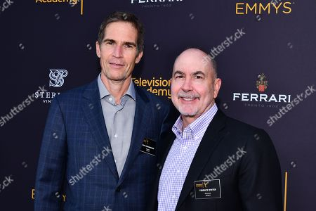 Governors Chip Johannessen (left) andTerence Winter are seen at the Television Academy's 2016 Emmy Awards Writer's Nominee Reception at The Television Academy's Wolf Theatre on in North Hollywood, California