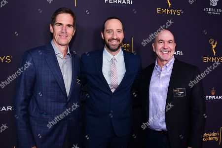 Governor Chip Johannessen (left), actor Tony Hale and Governor Terence Winter are seen at the Television Academy's 2016 Emmy Awards Writer's Nominee Reception at The Television Academy's Wolf Theatre on in North Hollywood, California
