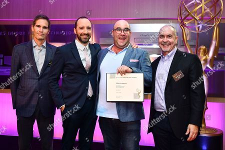 Stock Image of Chip Johannessen, Tony Hale, Charlie Sanders and Terence Winter are seen at the Television Academy's 2016 Emmy Awards Writer's Nominee Reception at The Television Academy's Wolf Theatre on in North Hollywood, California