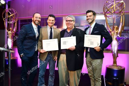 Tony Hale, Alex Gregory, David Mandel and Peter Huyck are seen at the Television Academy's 2016 Emmy Awards Writer's Nominee Reception at The Television Academy's Wolf Theatre on in North Hollywood, California