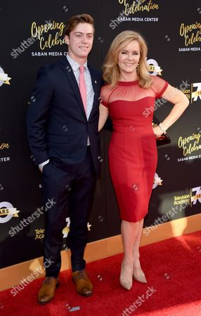 Jill Whelan, right, and Harrison Whelan arrive at the Television Academy's 70th Anniversary Gala and Opening Celebration for its new Saban Media Center, in the NoHo Arts District in Los Angeles