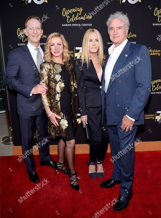 Ted Shackelford, from left, Donna Mills, Joan Van Ark, and Kevin Dobson arrive at the Television Academy's 70th Anniversary Gala and Opening Celebration for its new Saban Media Center, in the NoHo Arts District in Los Angeles