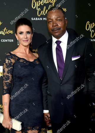 Carl Weathers, right, and Christine Kludjian arrive at the Television Academy's 70th Anniversary Gala and Opening Celebration for its new Saban Media Center, in the NoHo Arts District in Los Angeles