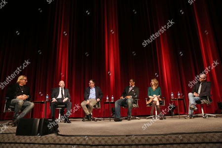 "From left, Matthew Carnahan, Steven S. DeKnight, Hart Hanson, Ali LeRoi, Tara Bennett, and Damon Lindelof are seen during the panel discussion after the Television Academy's premiere screening of the documentary ""Showrunners: The Art Of Running A Show"" at the Leonard H. Goldenson Theater on in the NoHo Arts District in Los Angeles"