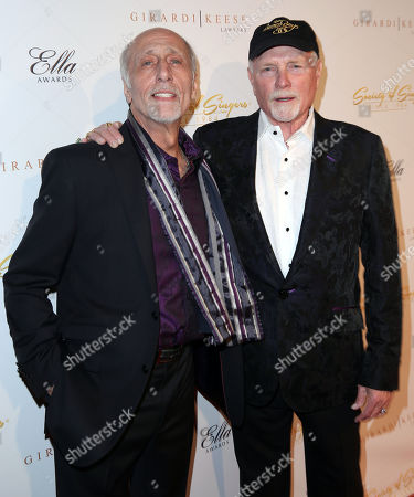 Mike Love, right, and David Marks pose together at The Society of Singers' 21st ELLA Awards on in Beverly Hills, Calif. The event honored Mike Love, lead singer and co-founder of The Beach Boys, producer Nigel Lythgoe, and backup singers The Waters Family