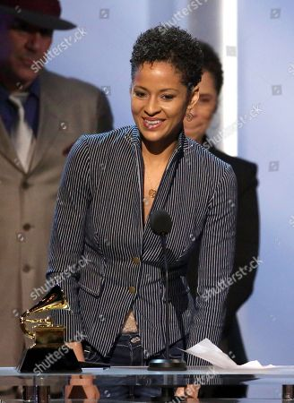 "Kori Withers accepts the award for best historical album on behalf of Bill Withers for ""The Complete Sussex And Columbia Albums"" at the pre-telecast of the 56th annual GRAMMY Awards, in Los Angeles"
