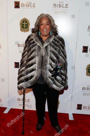 Della Reese pose on the red carpet at the celebration of the April 2 Blu-ray, DVD, and Digital HD release of THE BIBLE from Twentieth Century Fox Home Entertainment during The Bible Experience opening night gala, a rare exhibit of biblical artifacts, in New York City on Tuesday, March 19 in New York