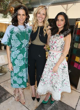 From left, Cristina Ehrlich, Tara Swennen and Olivia Munn attend The Hollywood Reporter & Jimmy Choo Celebration of the Most Powerful Stylists in Hollywood,, in West Hollywood, Calif