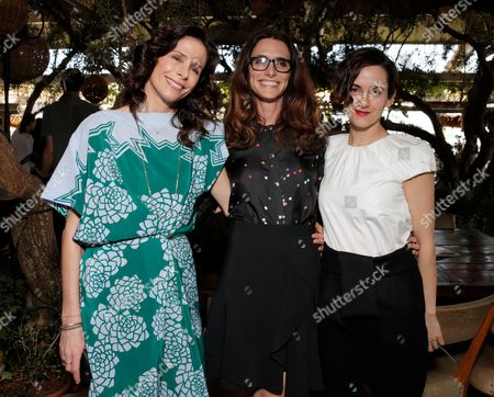From left, Cristina Ehrlich, Elizabeth Stewart and Karla Welch attend The Hollywood Reporter & Jimmy Choo Celebration of the Most Powerful Stylists in Hollywood,, in West Hollywood, Calif