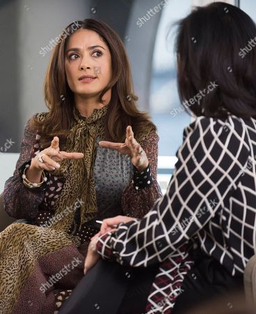 Salma Hayek and Janice Min, President & Chief Creative Officer of The Hollywood Reporter seen at The Hollywood Reporter and Kering Women in Motion conversation at the Majestic Hotel on in Cannes, France