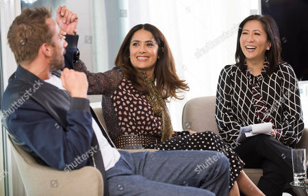 From left, Matthias Schoenaerts, Salma Hayek and Janice Min, President & Chief Creative Officer of The Hollywood Reporter seen at The Hollywood Reporter and Kering Women in Motion conversation at the Majestic Hotel on in Cannes, France