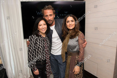 Janice Min, President & Chief Creative Officer of The Hollywood Reporter, Matthias Schoenaerts and Salma Hayek seen at The Hollywood Reporter and Kering Women in Motion conversation at the Majestic Hotel on in Cannes, France
