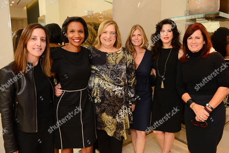 Leslie Siebert, and from left, Salaam Coleman Smith, Iris Grossman, Nicole Clemens, Keri Selig and Molly Madden attend the Power of Style Lunch hosted by The Hollywood Reporter and MaxMara, in Beverly Hills, Calif