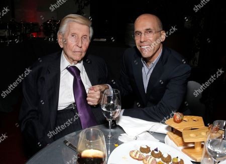 Sumner Redstone, left, and Jeffrey Katzenberg, CEO of DreamWorks Animation attend The Hollywood Reporter Nominees Night presented by Cadillac, Bing, Delta, Pandora jewelry, Qua, and Zenith, at Spago, in Beverly Hills, Calif