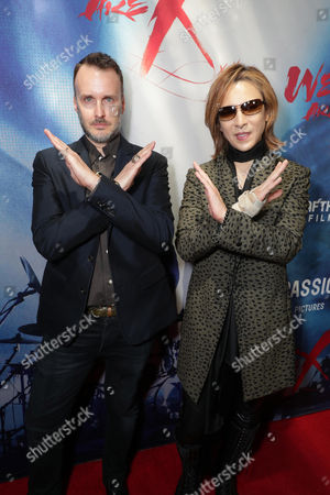 """Director Stephen Kijak and Yoshiki seen at The Los Angeles Premiere """"We Are X"""", in Los Angeles, CA"""