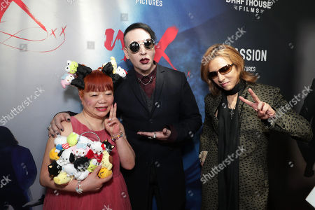 """Yuko Yamaguchi, Marilyn Manson and Yoshiki seen at The Los Angeles Premiere """"We Are X"""", in Los Angeles, CA"""